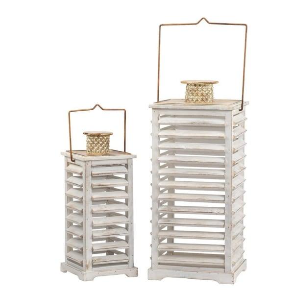 "Set of 2 White and Gold Hesper Hanging Garden Lanterns 27.5"" - N/A"
