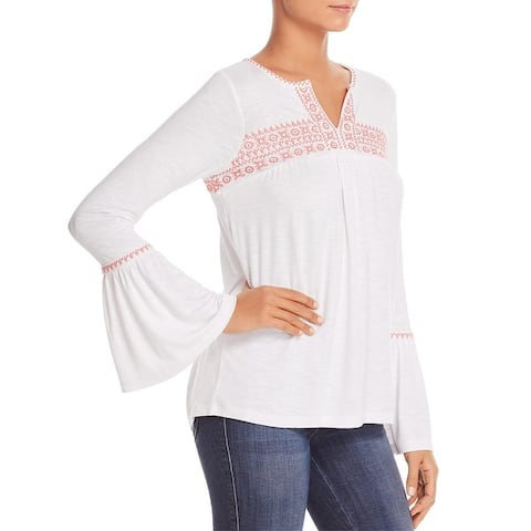 Design History Womens Pullover Top Embroidered Sheer