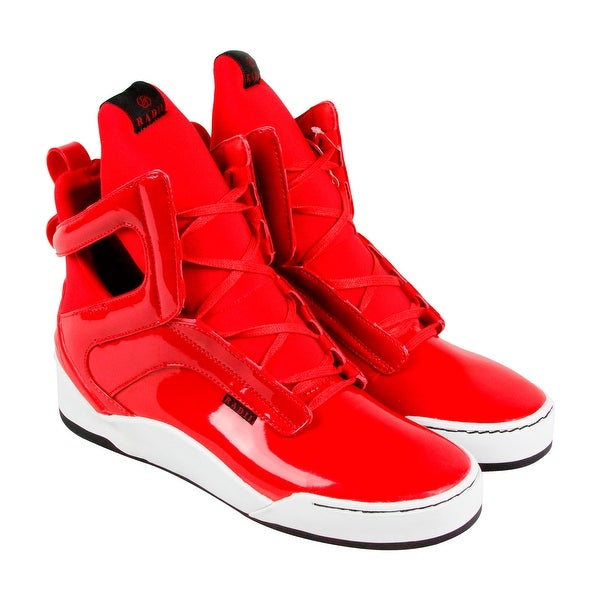 Shop Radii Prism Mens Red Leather High Top Lace Up Sneakers Shoes ... 9b64715fc8