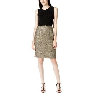 Kasper Womens Wear to Work Dress Metallic Tweed