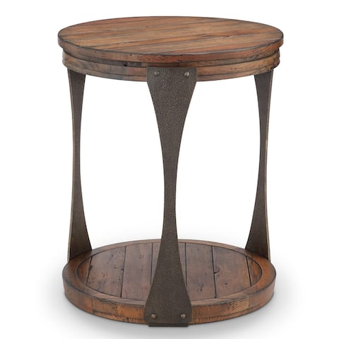 Montgomery Industrial Bourbon Reclaimed Wood Round Accent Table