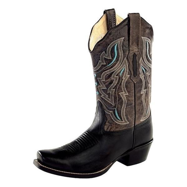 Old West Cowboy Boots Womens Stitching Square Black Gray Crackle
