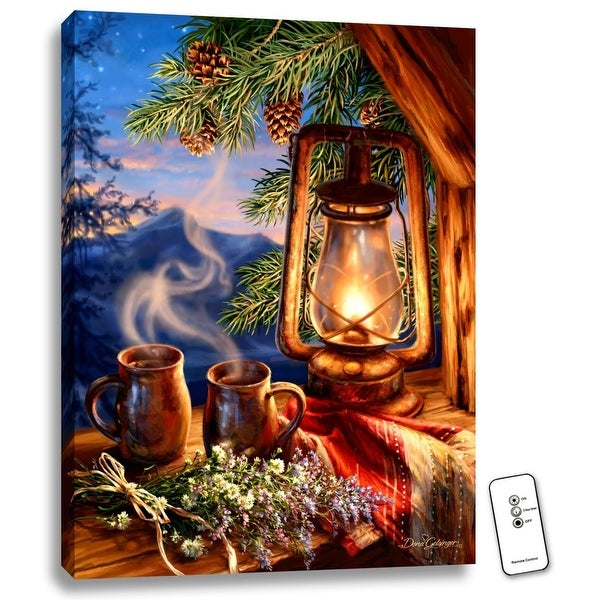 """24"""" x 18"""" Blue and Green Morning Coffee Backlit LED Wall Art with Remote Control - N/A"""