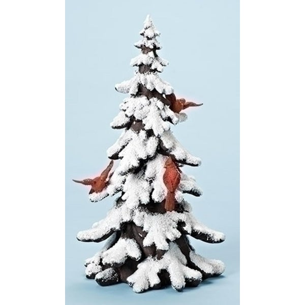 "17.75"" Winter Wonderland Snowy Tree with Cardinal Birds Christmas Table Top Figure"
