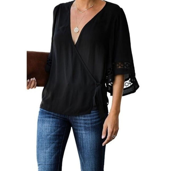 Bell Sleeve Shirt Loose Tops Blouse