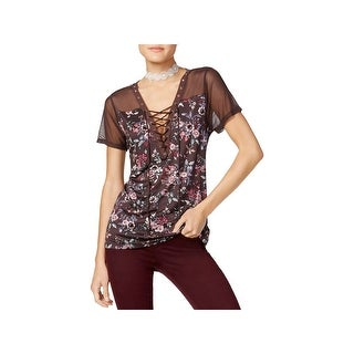 Gypsies and Moondust Womens Juniors Casual Top Floral Lace Up - L