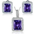 """Sterling Silver Radiant-Cut Cubic Zirconia Double Halo Earrings and Necklace 18"""" Set - Thumbnail 9"""