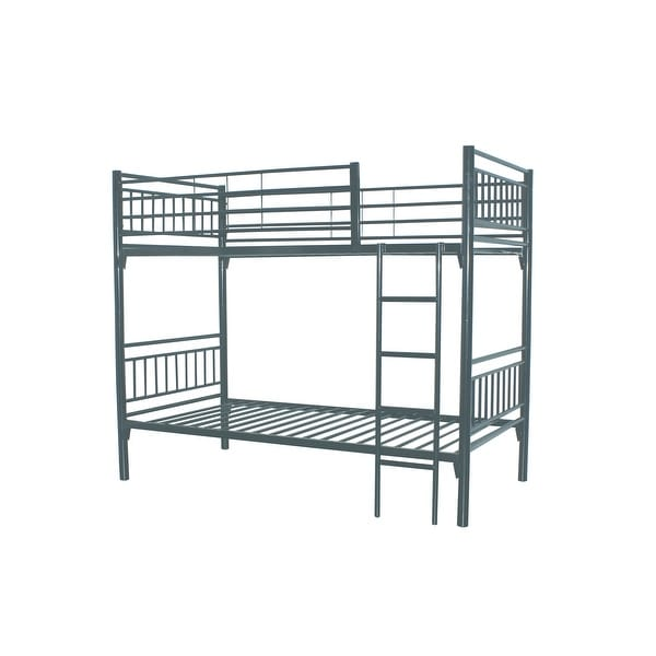 bunk/loft twin beds with GREY powder coated metal for kids. Opens flyout.