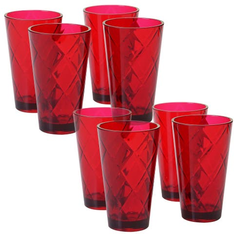 8pc Red Contemporary Glass Ice Tea Cup Set 20 oz.