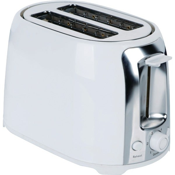 BRENTWOOD TS-292W 2-Slice Cool Touch Toaster (White & Stainless Steel)