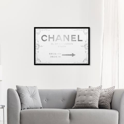 Oliver Gal 'Couture Sign' Fashion and Glam Wall Art Framed Print Road Signs - White, Gray