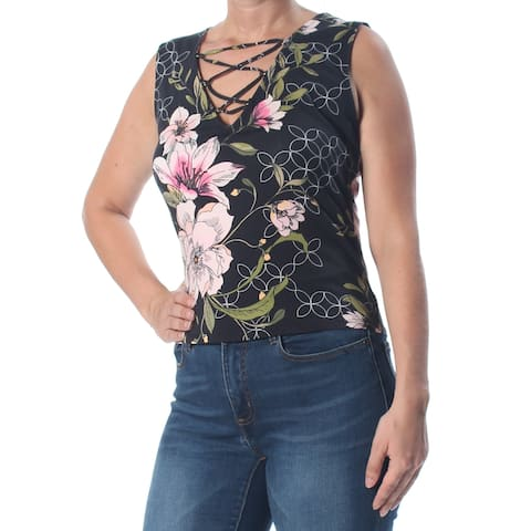 GUESS Womens Black Floral Lace Up Sleeveless V Neck Top Size: L