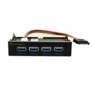 IOCrest Black 3.5-inch Front Panel USB 3.0 4-Port Support 3.5-inch Bay Powered by SATA Connector GL3520 Chipset Hub