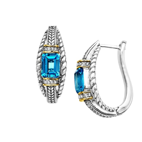 3 7/8 ct Natural Swiss Blue Topaz Hoop Earrings with Diamonds in Sterling Silver and 14K Gold