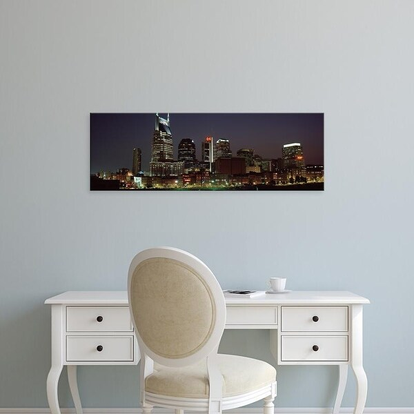 Easy Art Prints Panoramic Images's 'Buildings lit up at dusk, Nashville, Tennessee, USA' Premium Canvas Art