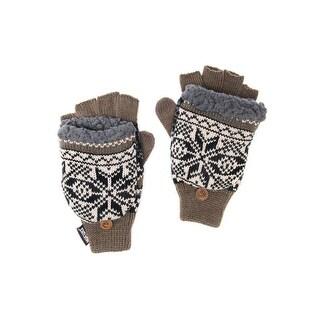 Muk Luks Gloves Mens Thinsulate Flip Top Faux Fur O/S Brown 0033601