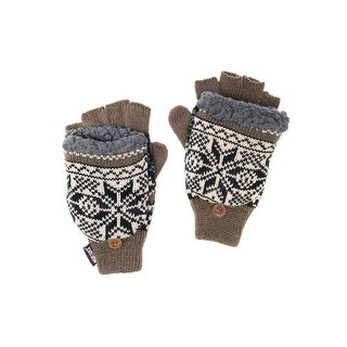 Muk Luks Gloves Mens Thinsulate Flip Top Faux Fur O/S Brown 00
