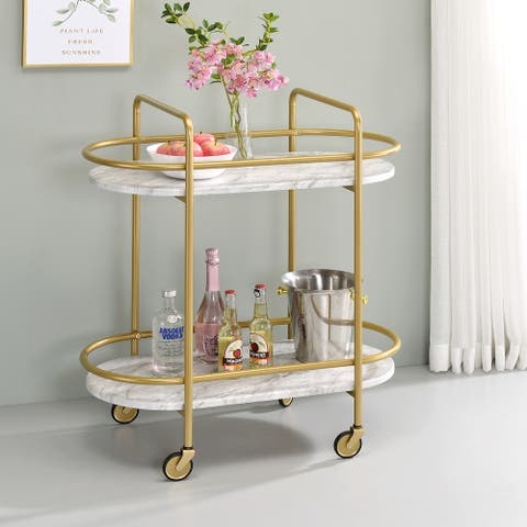 Furniture of America Mardoc Contemporary White and Gold Serving Cart