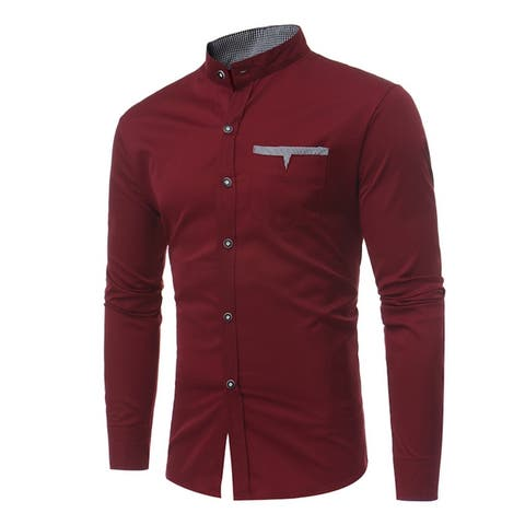 Mandarin Collar Long Sleeve Casual Shirts