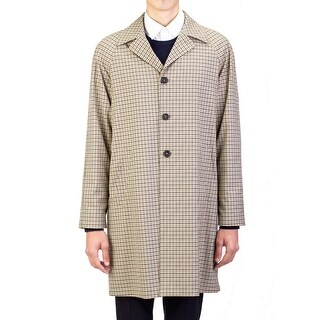 Prada Men's Waterproof Tecno Trench Coat Jacket Checker Camel Olive