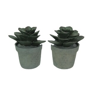 Artificial Potted Echeveria Succulent Plant Bookend Set - DARK GREEN
