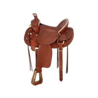 "Silver Royal Western Saddle Hard Seat Strings 16 1/2"" Medium Oil"