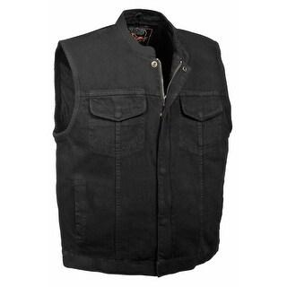 Mens Denim Concealed Snap Hidden Zipper MC Vest (Option: Xxl)