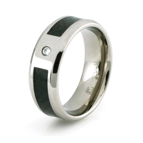 Titanium Ring with Black Carbon Fiber Inlay & CZ