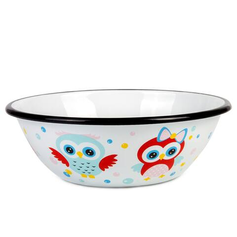 STP-Goods 20-fl.oz Black Rim Cuty Owls Enamel on Steel Children's Bowl
