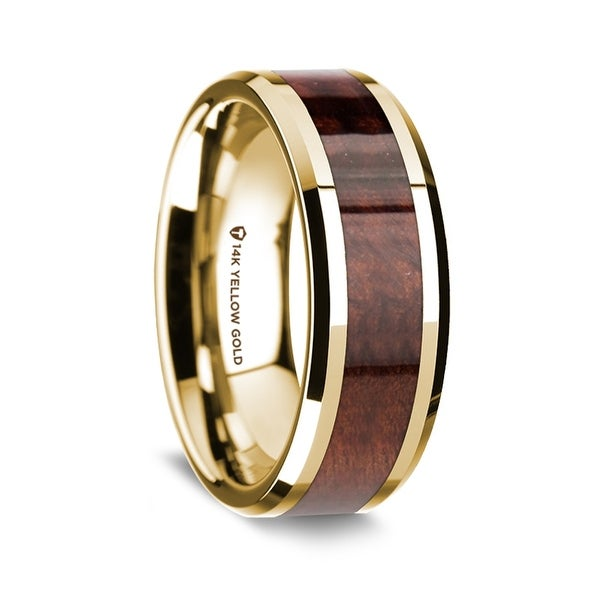 Jewelry Best Seller Titanium 14k Yellow Inlay Flat 8mm Polished Band