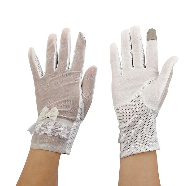 Ladies Travel Driving Cycling Bowknot Decor Sun Resistant Gloves White Pair