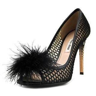 Miu Miu Rete 1 Women  Peep-Toe Leather Black Heels
