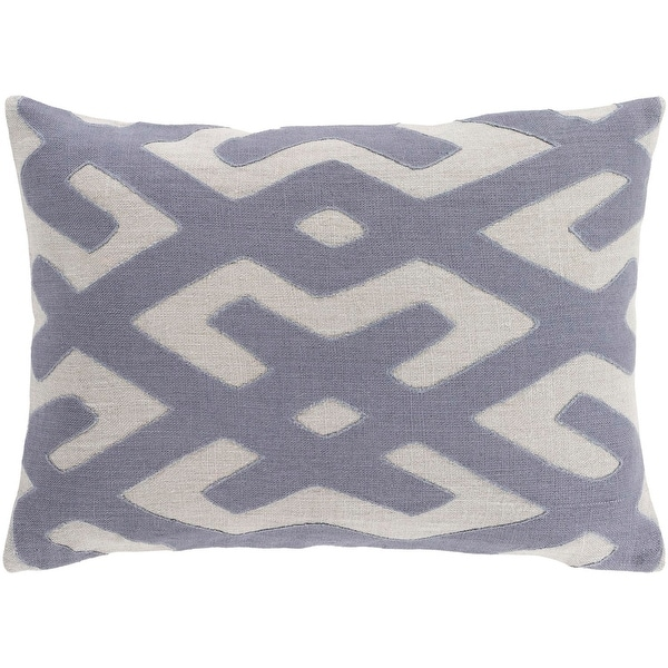 "19"" Off-White and Gray Geometric Pattern Decorative Square Throw Pillow"