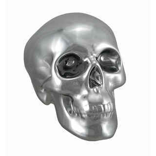 Silver Finished Ceramic Human Skull Money Bank - 5.25 X 7.5 X 4.75 inches