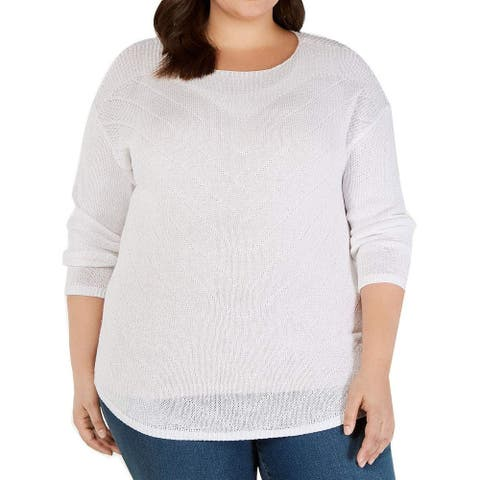 INC Women's Sweater White Size 1X Plus Pullover Pointelle Ribbed