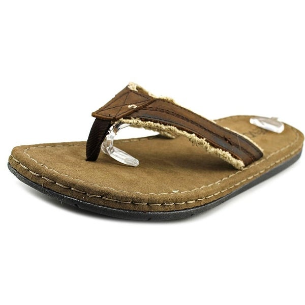 Crevo Houston Men Open Toe Leather Brown Thong Sandal