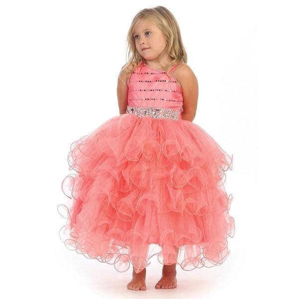 6ac51646a6f Shop Angels Garment Girls Coral Bead Ruffle Skirt Flower Girl Dress ...