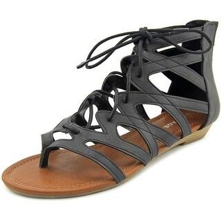 Rampage Santini Women Open Toe Synthetic Black Gladiator Sandal