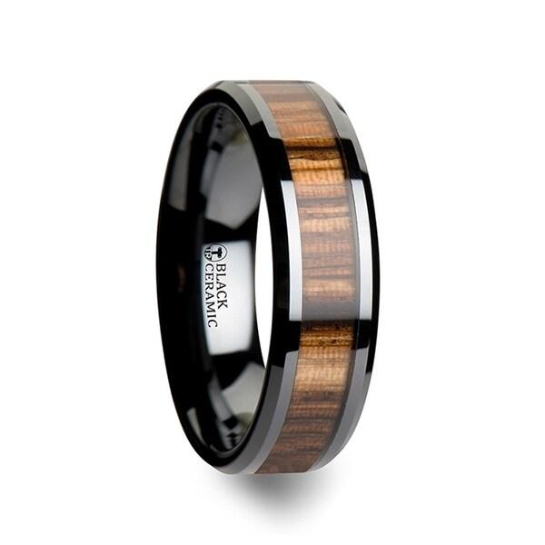 THORSTEN - ZEBRANO Black Ceramic Ring with Beveled Edges and Real Zebra Wood Inlay - 6mm