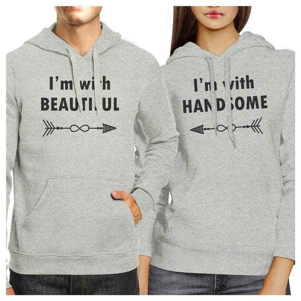 2fdfe8455b Shop Beautiful And Handsome Grey Pullover Hoodies Matching Couples ...