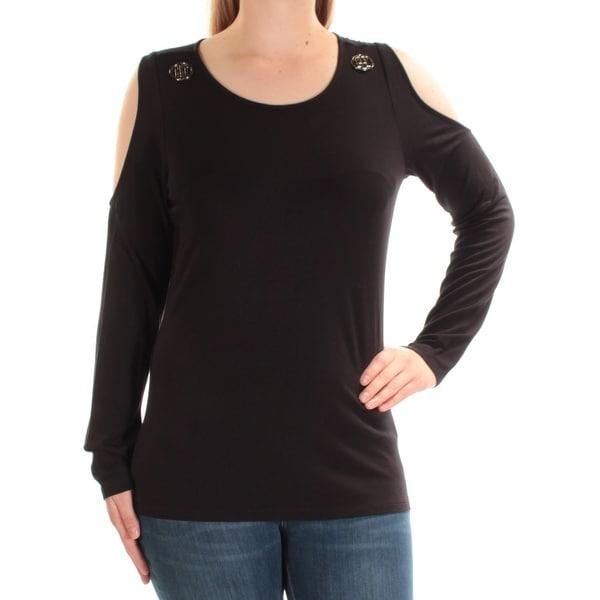 90d18cdbd3dcb TOMMY HILFIGER  70 Womens New 1202 Black Embellished Cold Shoulder Top M  B+B. Click to Zoom