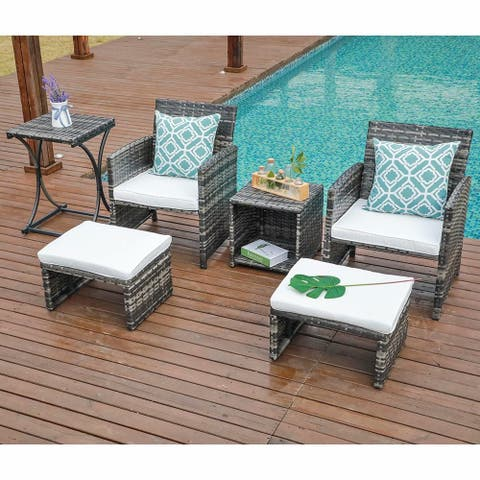 6 PCS Rattan Wicker Furniture Set Sofa Ottoman Cushion