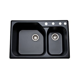 "Rohl 6327 33"" Allia Double Basin Drop In Fireclay Kitchen Sink with Four Faucet - pergame biscuit"