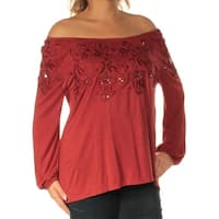 Womens Red Long Sleeve Off Shoulder Top  Size  L