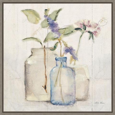 Canvas Art Framed 'Blossoms on Birch' by Cheri Blum 16 x 16-inch