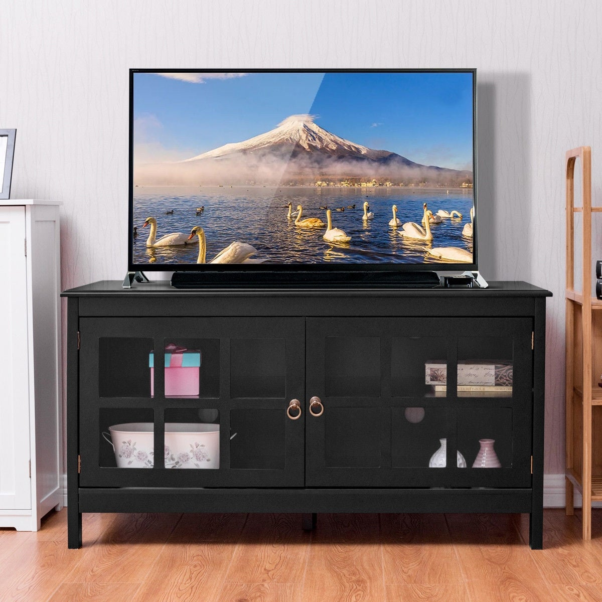 Gymax 50 Tv Stand Modern Wood Storage Console Entertainment Center On Sale Overstock 20714615