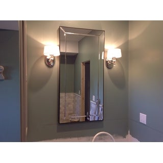 Conrad Bevel Mirrored Frame Rectangular Accent Wall Mirror by iNSPIRE Q Bold - Grey/Silver - A/N