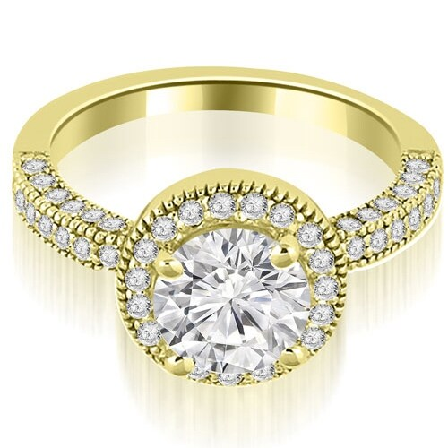 1.10 cttw. 14K Yellow Gold Halo Round Cut Diamond Engagement Ring