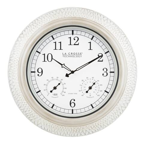 "La Crosse Technology 433-3256W-INT 21"" Outdoor Atomic White Metal Wall Clock"