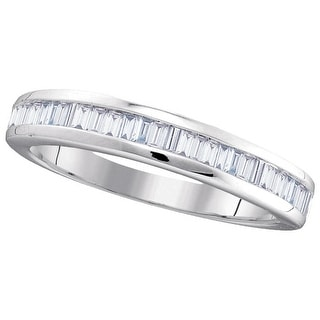 10kt White Gold Womens Baguette Natural Diamond Band Wedding Anniversary Ring 1/2 Cttw